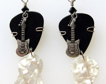 Guitar Pick Earrings - Black and white dangle earrings