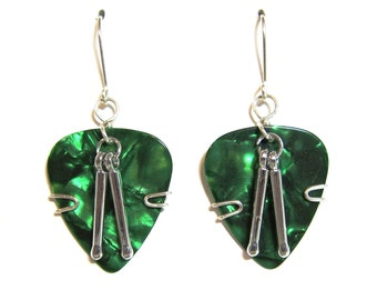 Green Guitar Pick Earrings with Drum Sticks