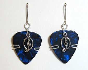 Blue Guitar Pick Earrings with a music note