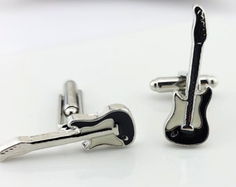 Cuff Links - Guitar Head Cuff Links for dress shirt.  Cuff Links for classy look.  Black and Silver Guitar Cuff Links