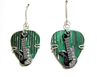 Guitar Pick Earrings / Green and Silver Guitar Picks / Musically inclined jewelry / Music Lovers Gifts / Music Themed / Black Guitar Charm