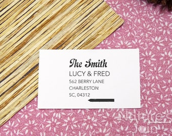 Personalized Return Address Stamp With Geometric Arrow, Neat & Tidy Design, Custom Made Wood Mounted Rubber Stamp from NaturesJoin SP013