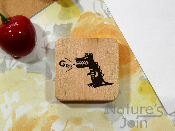 Standing Crocodile Grr Stamp Cartoon Style Wood Mounted Etsy