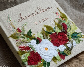 Personalized photo album with red and white wedding flowers, large linen photo album, embroidered name and date, wedding gift idea.