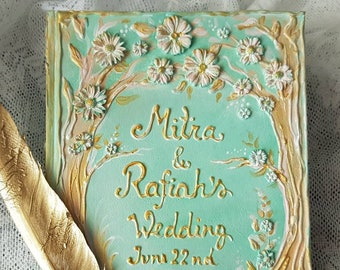 Mint guest book, mint gold personalized cover, wedding guest book, Personalized Name & Date and color, Sweet 18, floral, flowers guest book.