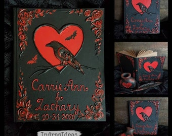 Black and red guest book with crow. Personalized wedding set- book, feather pen, penholder, Halloween wedding book, Book of shadows