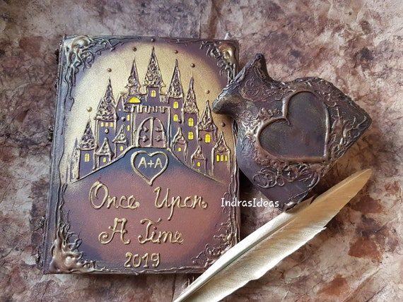 fairy tale castle wedding guest book Once Upon a time wedding guest book Princess carriage guest book personalized Once Upon  guest book