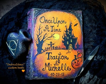 Halloween wedding guest book, Witch Spell Book, custom Halloween book, personalized guest book, Once Upon a Time, unique custom guest books