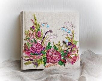 Large photo album | Embroidered  Photo album | Wedding album | Rustic photo album | Linen album | Anniversary album Shabby chic photo album
