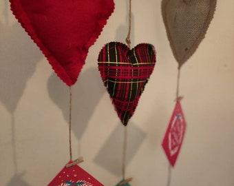 2 Handmade Christmas Card holders Slightly padded hearts tartan and Jute pegs