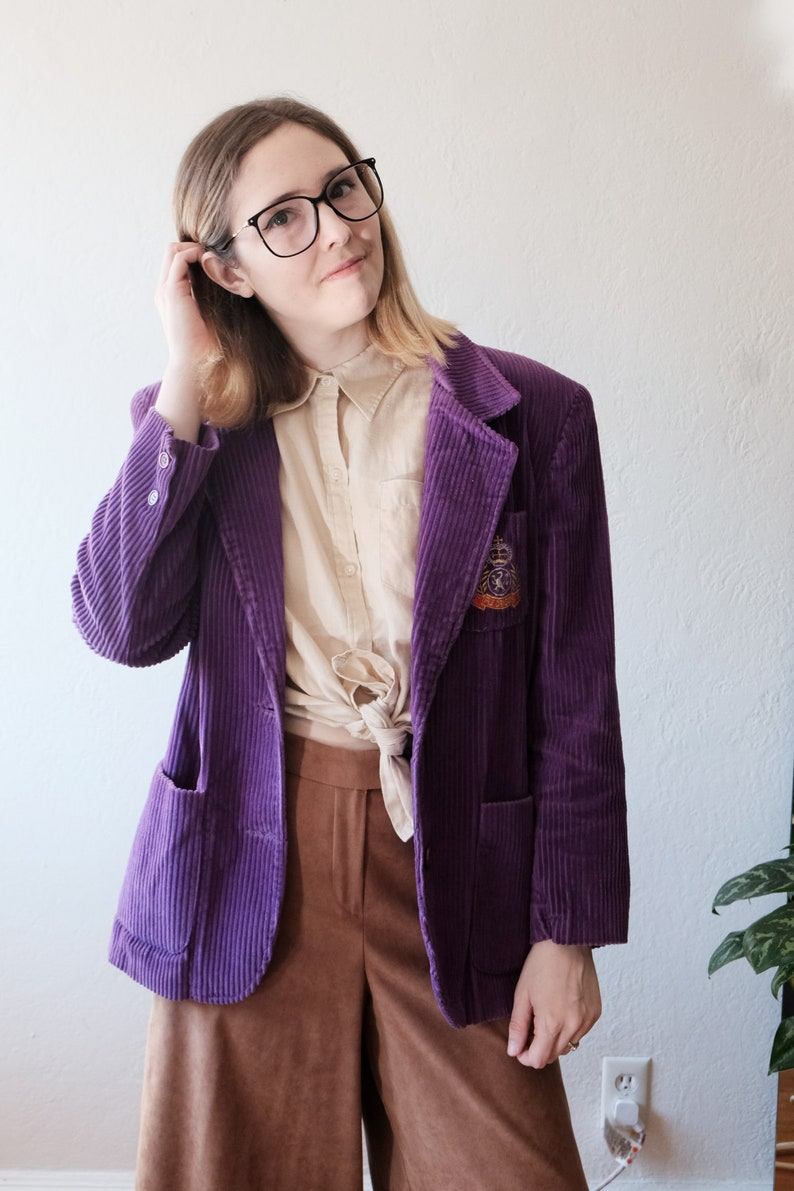 cord unisex hip fancy black friday 80s 90s Vintage Holiday Blazer  corduroy pop of color small statement trendy