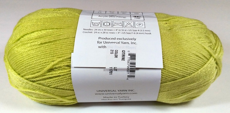 Universal Yarn Citrine Baby Yarn #2 Fine Yarn Knitting Yarn Color 215 Lot 11701 Crochet Yarn Uptown Baby Sport Yarn