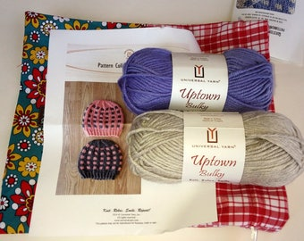 Universal Yarn Coffee Beans and Sugar Cubes Hats Periwinkle & Steel Grey, Knitting Kit, Yarn and Pattern