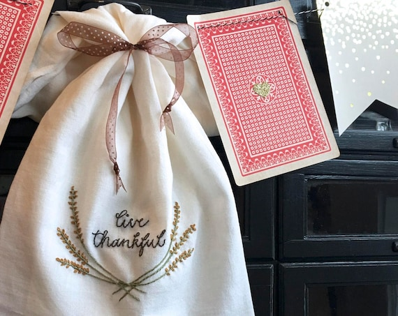 hand embroidery pattern | live thankful  | instant digital download