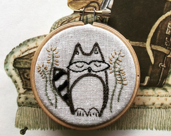 embroidery kit | hand embroidery | modern embroidery kit | DIY embroidery kit | roly - poly raccoon
