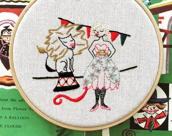 Luna the Lion Tamer - Embroidered Wall Piece