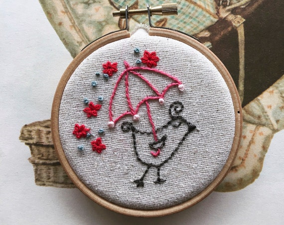 embroidery kit // Beatrice takes a stroll - bird & umbrella embroidery kit