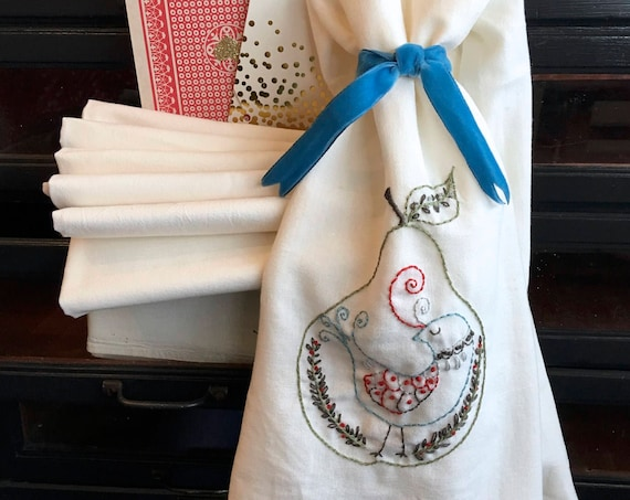 embroidery kit | hand embroidery | holiday embroidery kit | DIY embroidery | partridge pear hand embroidered tea towel kit