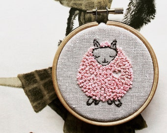 Paloma Pink Sheep - Hand Embroidery Kit