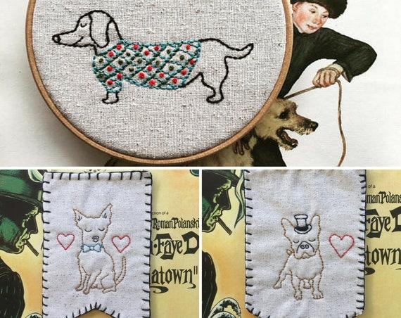 hand embroidery pattern | valentine gift | modern embroidery | DIY embroidery pattern | puppy trio - instant digital download