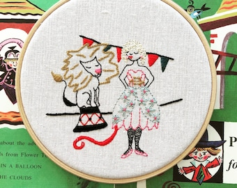 Luna the Lion Tamer Embroidery Pattern - Instant PDF Download
