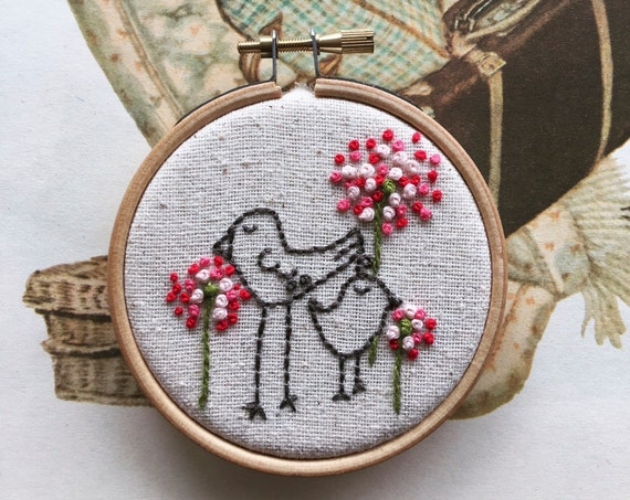 embroidery kit | hand embroidery | modern embroidery kit | DIY embroidery | eunice and oliver birds among the fleurs