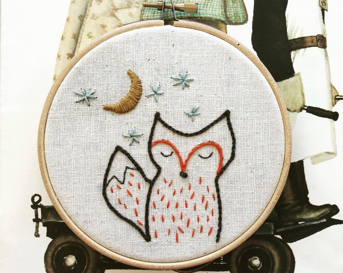 hand embroidery pattern | embroidery pattern | modern embroidery | DIY embroidery | foxy night