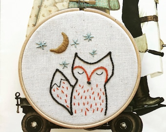 Foxy Night Embroidery Pattern - Instant PDF Download