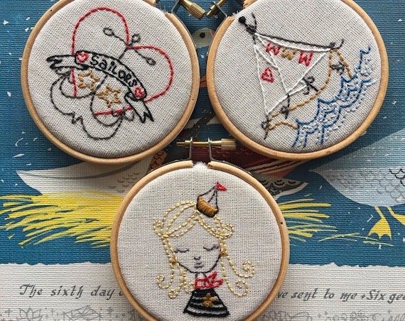 embroidery pattern | hand embroidery | PDF pattern | DIY embroidery | no secrets between sailors - instant digital download