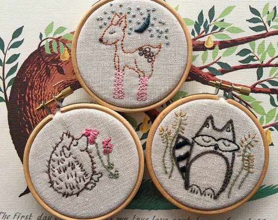 embroidery pattern | hand embroidery | PDF pattern | Woodland Creatures - Instant Digital Download
