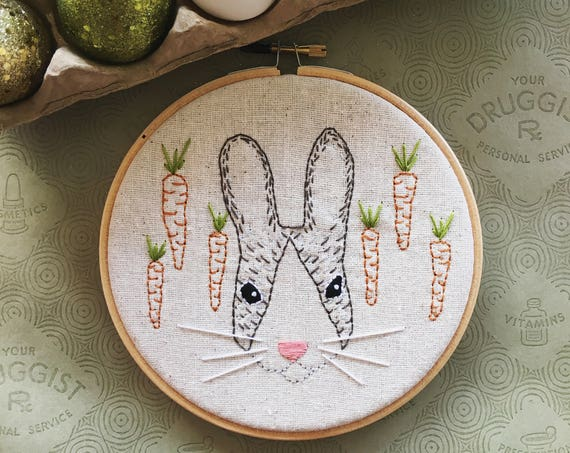 embroidery kit // Baxter Bunny - Easter Embroidery Kit - hand embroidery