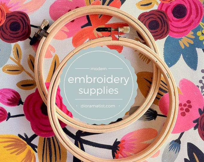 """7"""" embroidery hoops - set of 2 - embroidery supply - wooden hoop 7"""""""