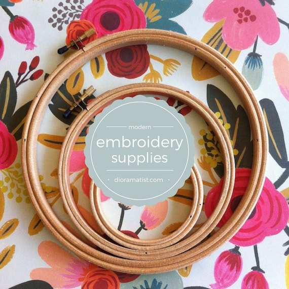 embroidery hoops | wood hoops | set of 3 - embroidery supplies -wood hoops various sizes