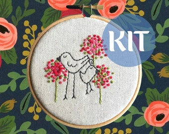 Embroidery Kit - beginner - Eunice & Oliver   hand embroidery   DIY embroidery   birds among the fleurs
