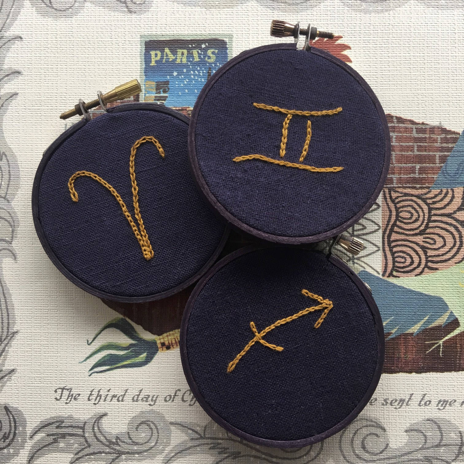 Hand Embroidery Pattern Modern Embroidery Sun Signs Instant