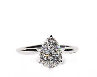 18k Heirloom Pear Shaped Diamond Cluster Ring