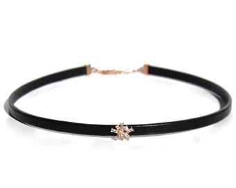 14K Baguette Diamond Starburst Leather Choker