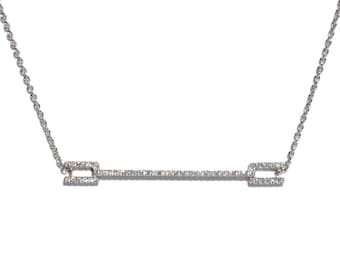 18K Pave Diamond Bar Pendant/Necklace.