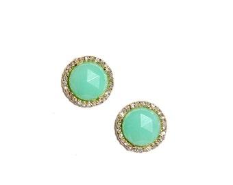 Yellow Gold Pave Diamond Chrysoprase Earrings/Studs