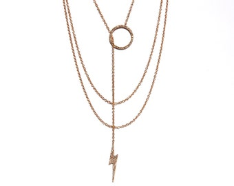 14k Pave Diamond Open Circle lightning bolt Lariat/Necklace