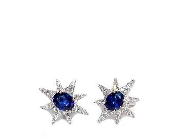 18k Blue Sapphire Diamond Starburst Earrings/Studs *Made To Order*