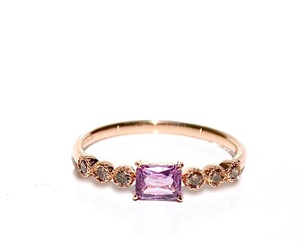 18k Pink Sapphire Baguette Diamond Ring