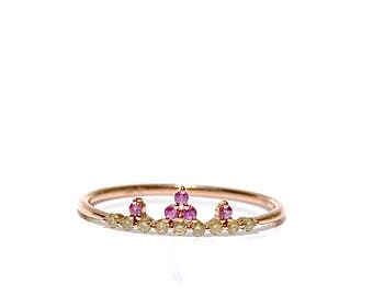 18k Pink Sapphire & Diamond Stackable Ring