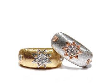 18k Brushed Gold Diamond Star Cocktail Ring