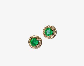 14k Emerald Pave Diamond Petite Earrings/Studs