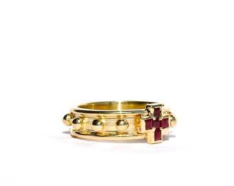 18k Ruby Cross Rosary Ring