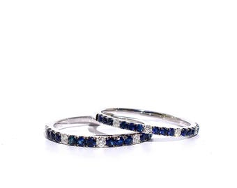 18k Pave Blue Sapphire and Diamond Half Eternity Ring/Band