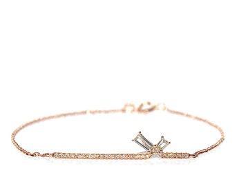 18K Baguette Diamond Bar Bracelet *Made To Order*