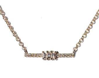 14k Baguette Diamond Petite Bar Necklace/Layering Necklaces