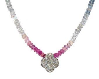 18K Pave Diamond Gold Flower & Multicolor Sapphire Choker/Necklace
